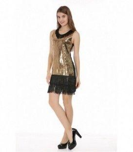 Vestido Con Flecos Lentejuelas (Dorado)