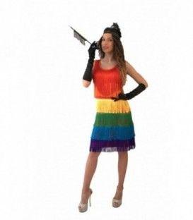 Vestido flecos multicolor