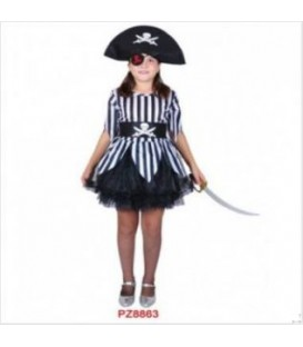 Disfraz pirata niña raya