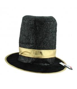 Sombrero Negro Con Brillo Y Dorado