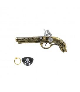 Pistola Pirata Con Parche Y Pendiente