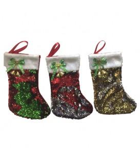Bota Navidad con lentejuelas